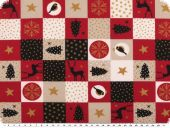 Deco-christmas fabric, patch,  red-white-black, 140cm