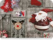 Deco fabric with christmas motifs, grey-red, 140cm