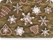 Digital christmas fabric, ice crystals,  brown, 140cm