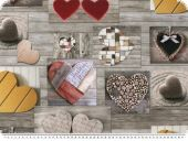 Digital  deco fabric, patch, hearts, grey-multicolour, 140cm