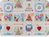 Christmas Deco fabric, digital print,' hello winter', 140cm