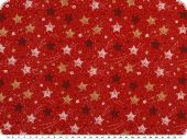 Christmas fabric, goldprint, stars, red, 140cm