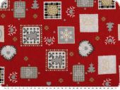 Christmas fabric, various motifs, red-grey, 140cm
