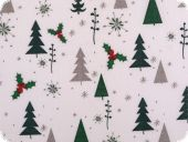 Christmas fabric, christmas trees, white-green, 140cm