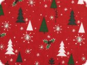 Christmas fabric, christmas trees, red-green, 140cm