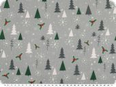 Christmas fabric, christmas trees, grey-green, 140cm