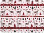 Christmas fabric, reindeers, white-red, 140cm