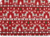 Christmas fabric, reindeers, red-white, 140cm