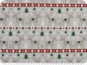 Christmas fabric, reindeers, grey-green, 140cm