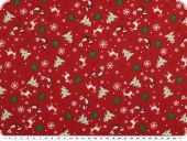 Christmas fabric, various motifs, red-white, 140cm