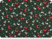 Christmas fabric, various motifs, green-white, 140cm