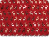 Christmas fabric, funny reindeers, red-multicolour, 140cm