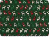 Christmas fabric, funny reindeers, green-multicolour, 140cm