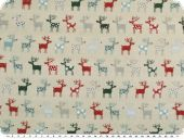 Christmas fabric, funny reindeers, pebble-multicolour, 140cm