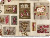 Deco fabric, christmas fabric, patch, hearts, brown-red 140c