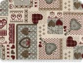 Christmas fabric with hearts, patch, ecru-grey-red, 140cm