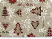 Christmas fabric 'Merry Cgristmas', linen-red-green, 140cm