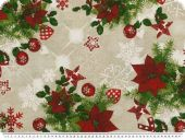 Christmas fabric  christmas flowers, linen-red-green, 140cm