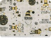 Modern Christmas fabric, digital print, ecru-gold-grey 140cm