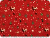 Deco christmas fabric, cotton, red, 140cm
