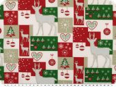 Christmas fabric, patch, red-green-white, 140cm