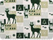 Christmas fabric, patch, green-green beige-white, 140cm
