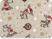Leftover, Christmas fabric, reindeers, ecru-red, 100x140cm