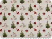 Christmas fabric, fir trees ecru-green-red, 150cm