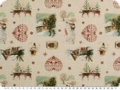 Christmas fabric, hearts and winter motifs, ecru, 150cm
