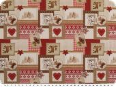 Christmas fabric patch, various motifs, red-brown, 150cm