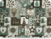 Cotton print, winter-christmas motifs, turquoise-grey