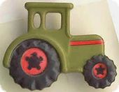 Children button, tractor, olive, 23mm