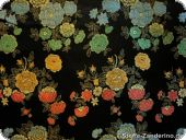 China jacquard with flowers, black, ca. 90cm
