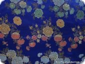 China jacquard with flowers, royalblue, ca. 90cm