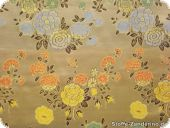China jacquard with flowers, beige-gold, ca. 90cm