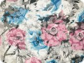 Cauterised fabric,flowers, multicolour, 14