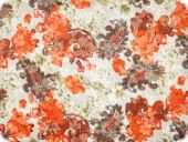 Cauterised fabric, cotton-polyester, white-orange, 140cm