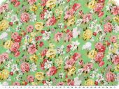 Delicate cotton batiste, flowers, green-multicolour, 140cm