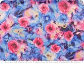 Cotton-poly. fabric, cauterised,flowers, multicolour, 148cm