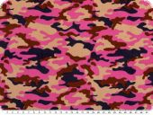 Corduroy print, camouflage, pink-multicolor, 150cm