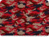 Corduroy print, camouflage, red-multicolor, 150cm