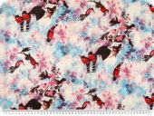 Chiffon print, flowers and birds, 145cm