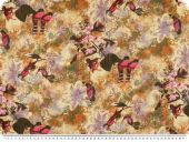 Chiffon print, flowers and birds, multicolour,  145cm
