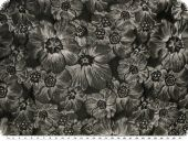 Roses-jacquard, grey and black, 165cm