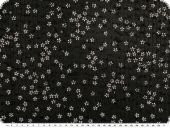Lace with flowers and sequins, black and white, 148cm