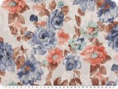 Fancy cauterised fabric , roses, multicolour, ca 140cm