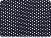 Viscose mousseline, small dots, white on navy, 142mc, 142cm