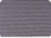 Cotton jersey, stripes, dark blue and grey, 150cm