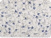 Cotton-polyester fabric, cauterised, birds, white-blue 148cm