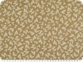 Cotton-polyester fabric, small flowers, middle brown, 140cm